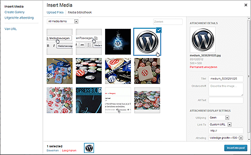 Media toevoegen interface