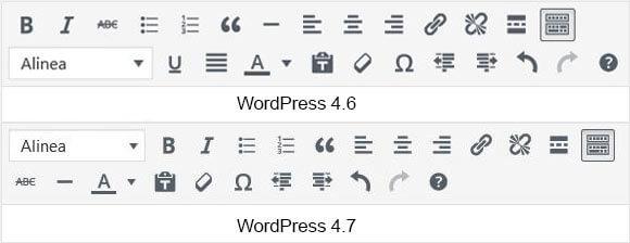 Text editor veranderd in WordPress 4.7