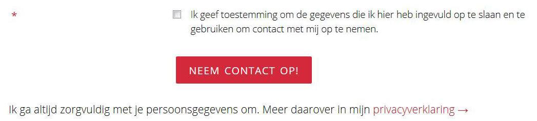 Contactformulier met checkbox voor AVG