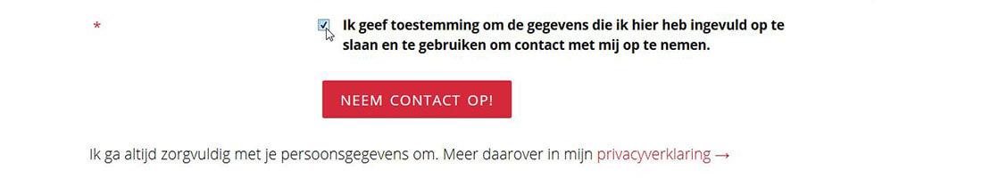Contactformulier voor AVG